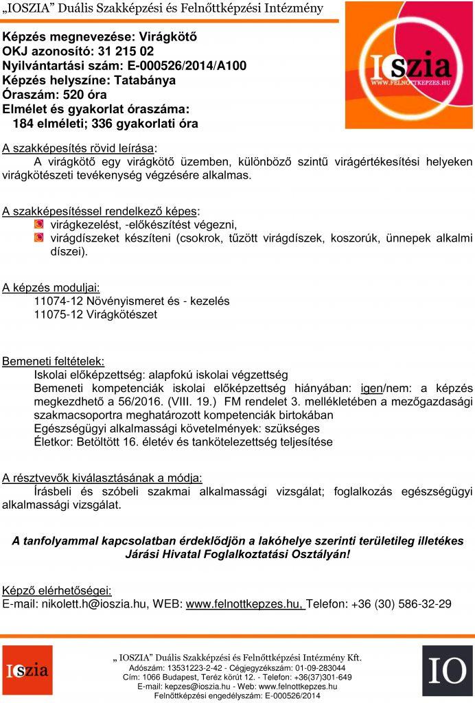 Virágkötő OKJ - Tatabánya - felnottkepzes.hu - Felnőttképzés - IOSZIA